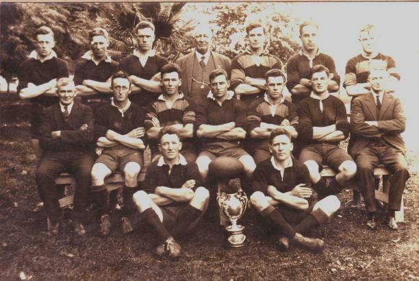 'Chook' Fraser's Gundagai team of 1927: back from left - Gordon Owen, Tom Lindley, Jim McIntyre, Tom (T.A.) Woodbridge (vice pres.), Harold Worldon, Henry McGuire, Dick Lynch: sitting from left - Arthur Perry (trainer), George Woodbridge, Jack Miller, Charles 'Chook' Fraser (captain-coach), Jack Donnelly (did not play in Maher Cup), Vince Carberry, Don (D.P.) Turner (pres.). Absent from photo: Joe Hill, Allan Davis, Ned 'Kelly' Smith.