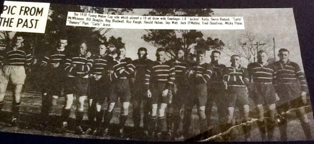 "Young team that drew with Gundagai in 1930. Left to right: ""Jockey"" Kelly, Gerry Rintoul, ""Curly"" McWhinney, Bill Douglas, Reg Bladwell, Roy Keogh, Harold Hoban, Sep Watt, Jack Malley, Fred Quinlivan, Micky Flynn, ""Dummy"" Punt, ""Curly"" Joyce"