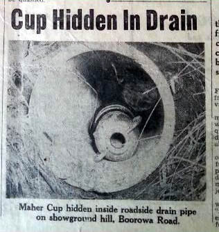 The Cup as found in a drain outside Young in 1955.