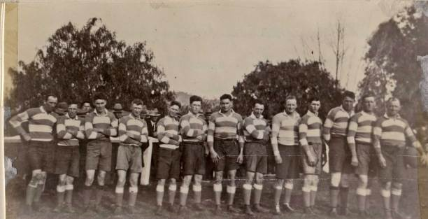 A 1926 Cootamundra team: From left - Bill Lesberg, Curtis 'Dick' Pellow, Aub Harris, Ray Sheedy, George Purcell, Jack Kingston, Gordon Hinton, Eric Weissel, Reg Ryan, Jack Watson, Bob Condron, L.T. 'Dadie' Quinlan, Phil Regan (captain-coach)