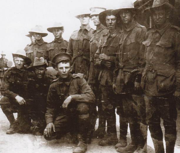 Phil Regan (kneeling far left) just before the Battle of Fromelles. Eddie Summers nest to Phil, Bert Gray (front ) and Billy Stirton standing far left played ogether for Glebe.