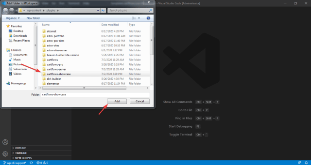 Select the folder to add in current workspace in VSCode.