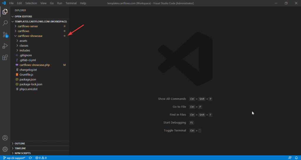 See the selected folder in current workspace from VSCode.