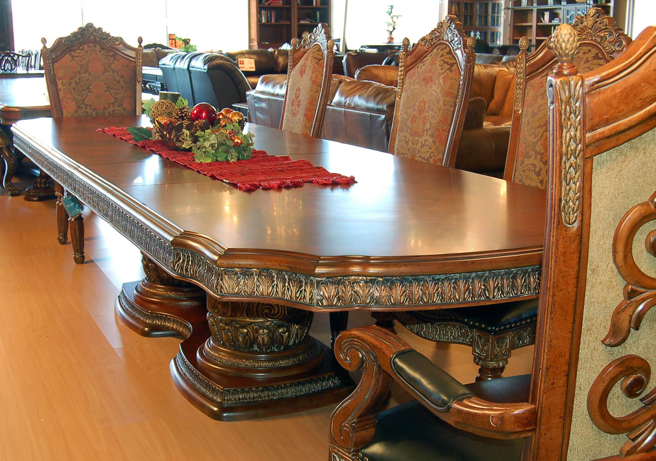11 Piece Ornate Carved Dining Table Chair Sideboard And