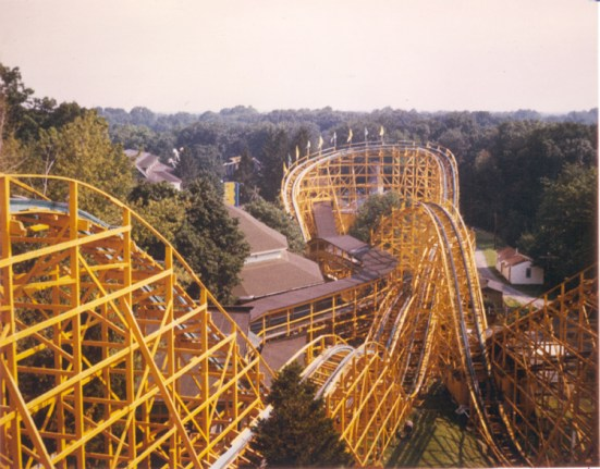 89-109 Roller Coaster Wildcat overview Idora Park