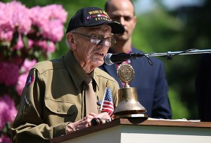 "World War II Veteran Howard ""Howdy"" Friend addresses the crowd gathered at the Riverside Cemetery for a Memorial Day Service in Poland; courtesy The Vindicator May 28, 2018; photographer Dustin Livesay"