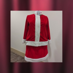 This Mrs. Claus outfit was worn by Eleanor Scannell, who was personnel director at Strouss' Department Store. Santa and Mrs. Claus were featured in Strouss' annual Thanksgiving Day Parade in downtown Youngstown until the store closed in 1986. Eleanor Scannell's close friend and neighbor, Beverly Sisek, inherited the outfit shortly after Eleanor's death. For years, Beverly wore the Mrs. Claus outfit while driving a school bus during the holiday season.  <br><br>Gift of Beverly Sisek, 2013.72.1