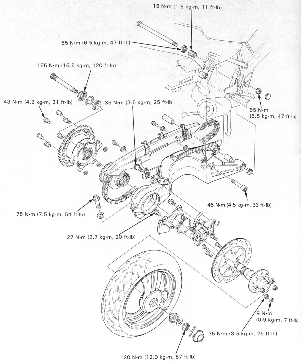 Honda Nt650 Service Manual Section 13 Rear Wheel Suspension