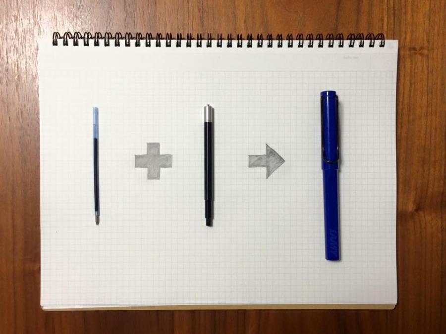 あのなめらかな書き味をこのボールペンでも。「BALLPOINT PEN REFILL ADAPTER」