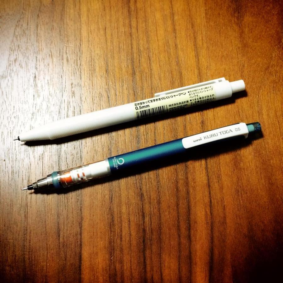 MUJIトガと呼んでいいかしら。「芯がまわって文字が太りにくいシャープペン0.5mm」
