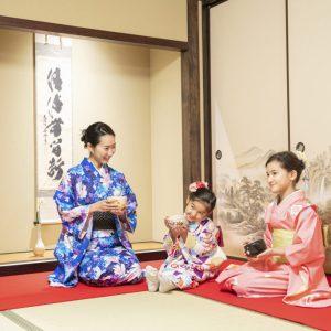 Family kids tea ceremony