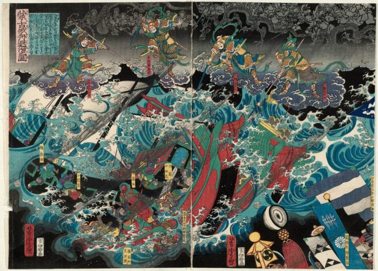 Utagawa Yoshitara (1863) The Defeat of the Mongol Invasion Fleet (Môko zokusen taiji no zu)