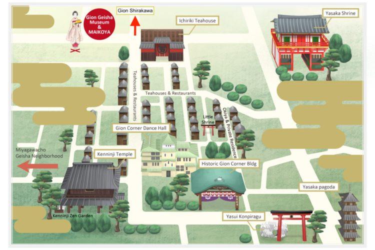 Gion Kyoto Geisha District Map