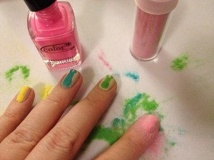 Easter Peeps bunny manicure with flocking