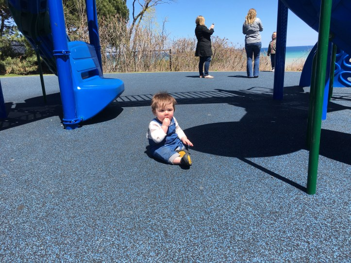 Baby on the playground at Atwater Park | Maia Nolan-Partnow
