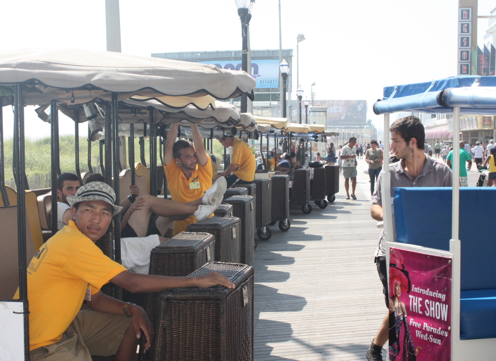 Rolling chair operators didn't have much business on Atlantic City's famed Boardwalk when I visited on Aug. 21.