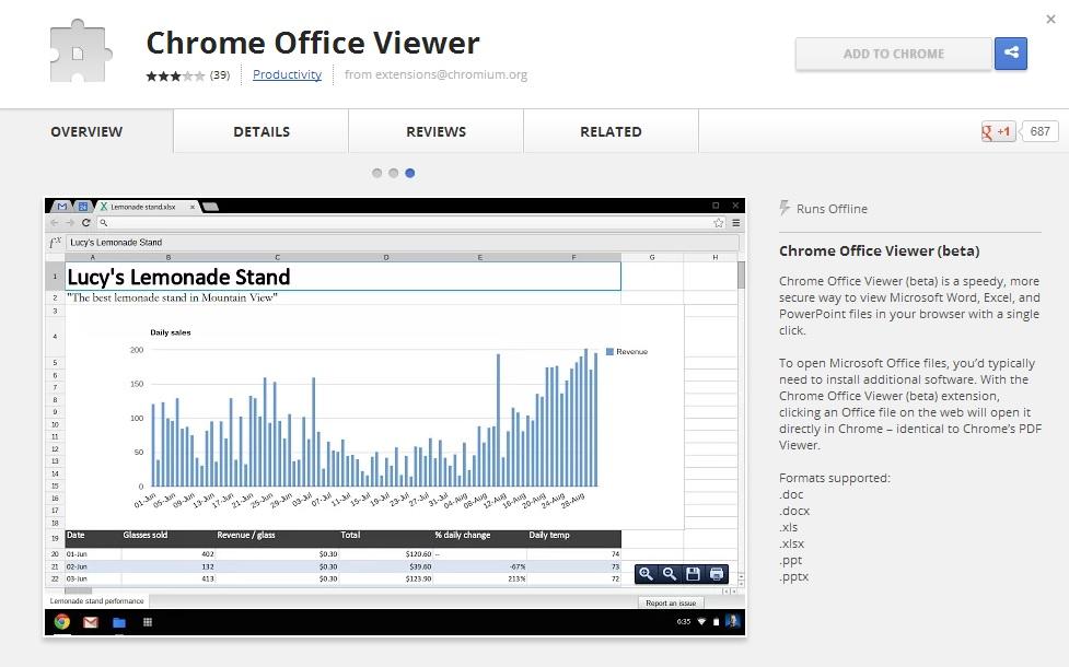 Google Chrome Office Viewer