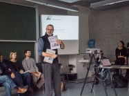 Prof. Gerard Christ campaigning about his course on political campaigning