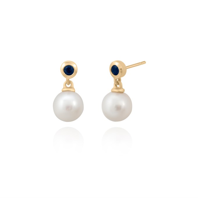 pearl and sapphire earrings