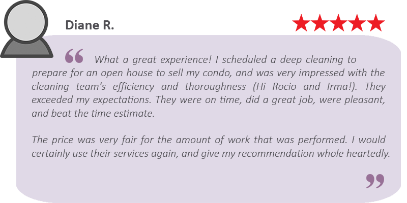 House cleaning review by Diane