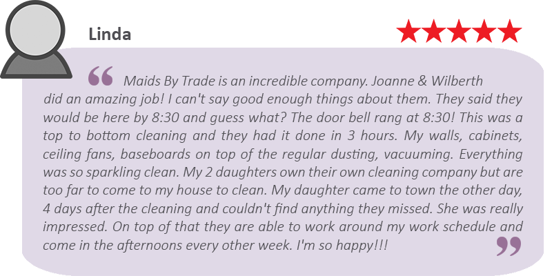 House cleaning review by Linda