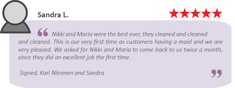 They cleaned and cleaned and cleaned. House cleaning review form Maids by Trade.