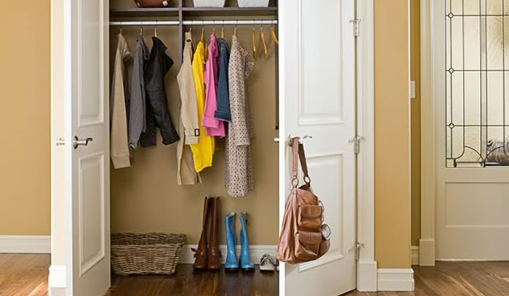 Organize Your Hall Closet to Find Things by wiping it down