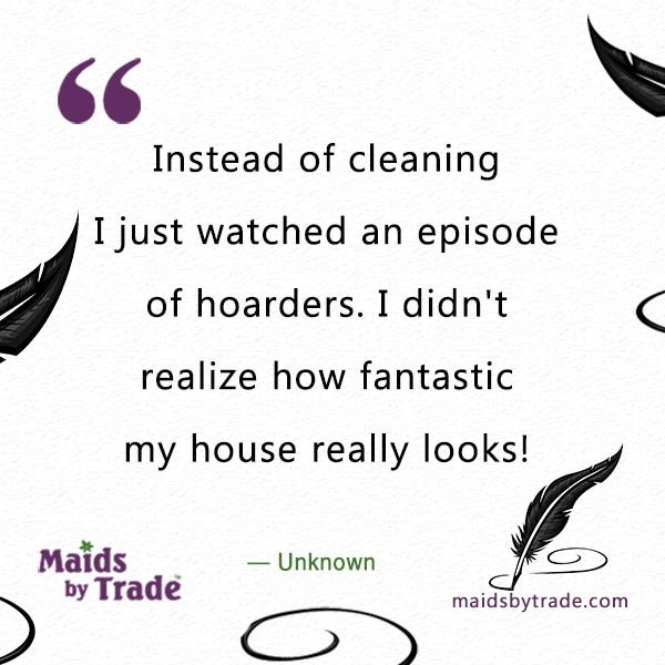 "Instead of cleaning I just watched an episode of hoarders. I didn't realize how fantastic my house really looks!"" - Savvy Humor"