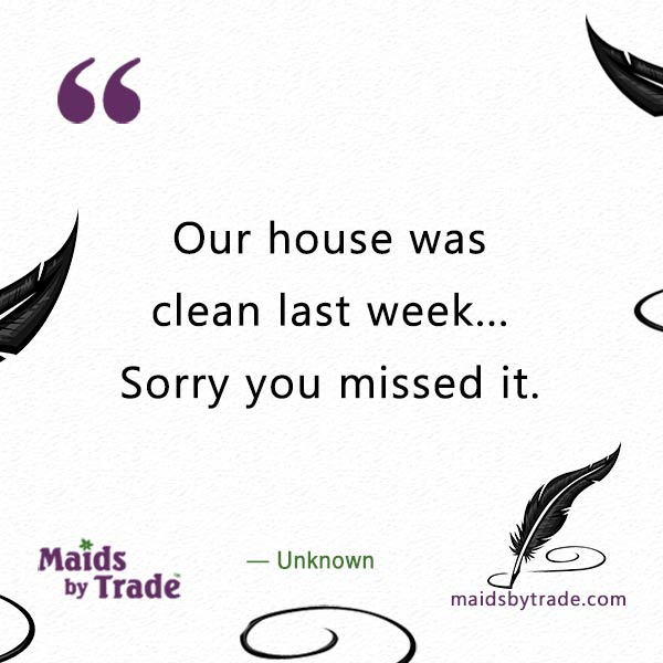 Our house was clean last week... Sorry you missed it. - Clean - savvy humor -