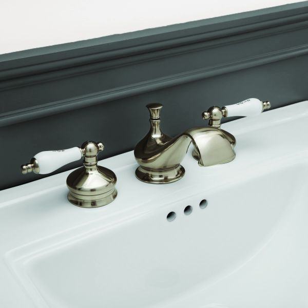 mila widespread bathroom sink faucet porcelain lever handles