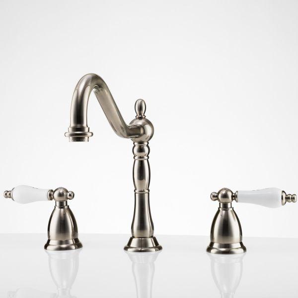 ashford widespread bathroom sink faucet porcelain lever handles