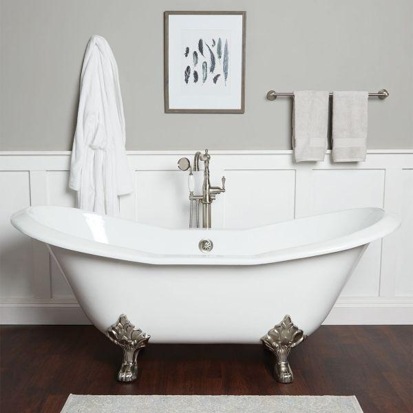 ravelle cast iron clawfoot double slipper tub