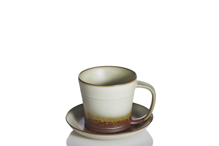 Past-Time-Tea-Coffee-Cup-with-Saucer-Oil-spot-Eggshell-Clay-Glaze