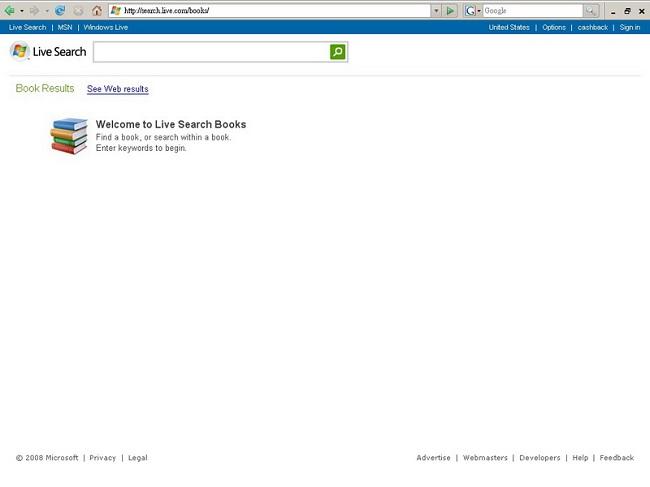 Live Search 圖書搜尋首頁