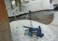 This was after seeing a pine marten. Creek was flowing freely underneath all the snow, so we refilled.