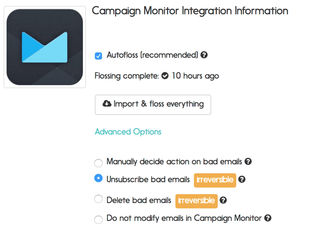 campaign monitor email verification options