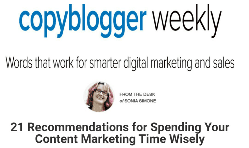 Copyblogger provides a weekly summary of new posts