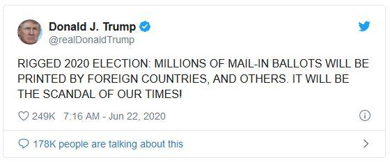 President Tweet Vote By Mail June 22 2020