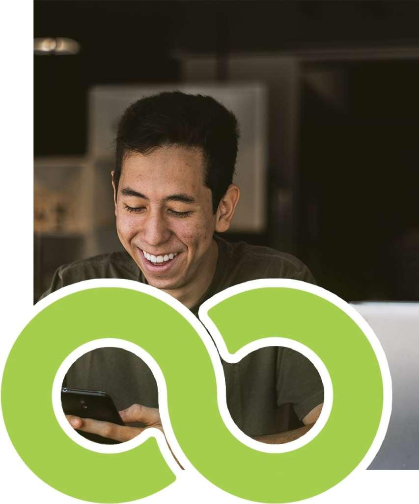 Man smiling while using XtraMail
