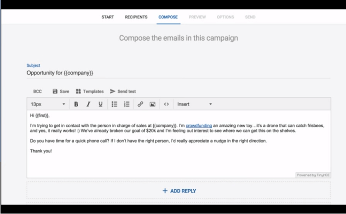 Sending influencer emails with Mailshake is easy