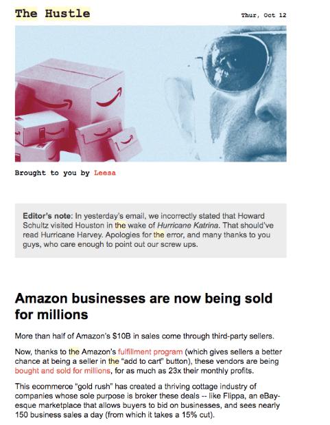Hustle newsletter email