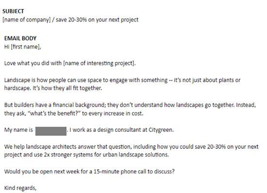 Email screenshot from Citygreen