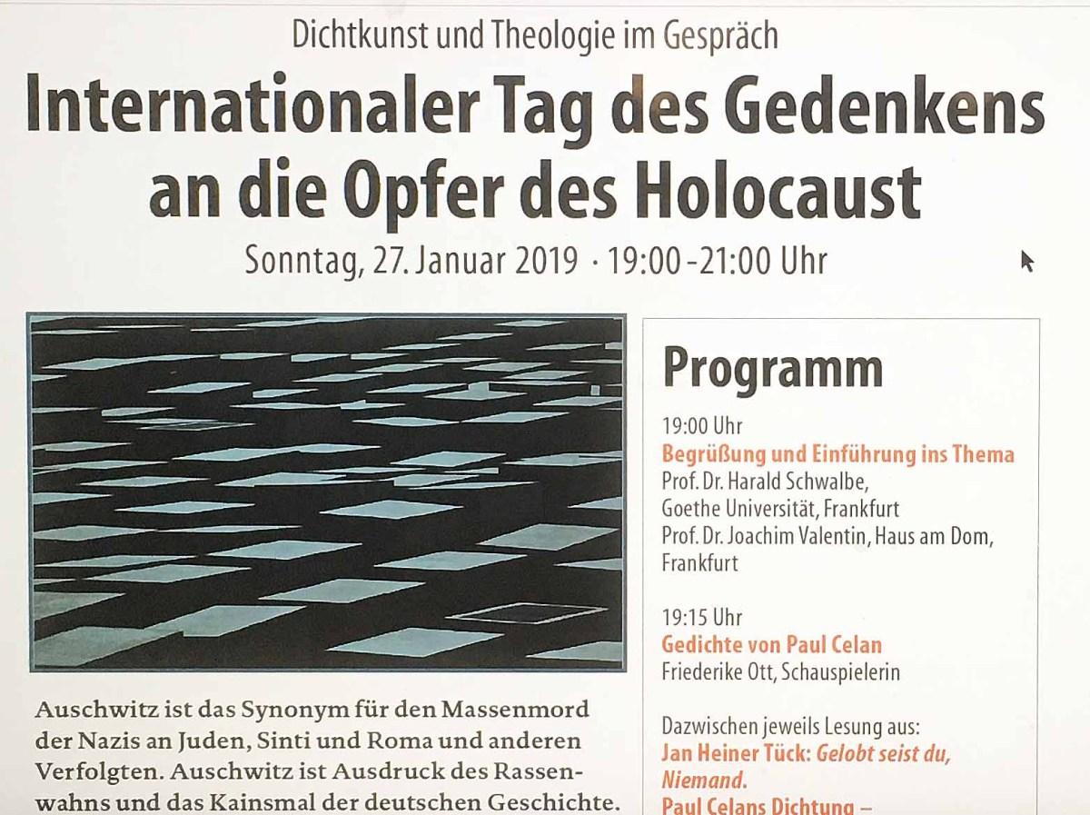 Tag des Gedenkens an die Holocaust-Opfer