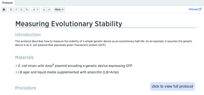 measuring evolutionary stability Benchling