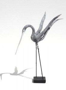 Pyne_White Speckled Bird, Wings Up_Composite_15x13x4
