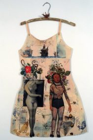 "Mj Viano Crowe, ""Arawak Woman"", Drawing, painting, collage on paper, Dress Forms are life size, approximately 2' w x 3'.5""h, some on hand-made hangers, 2000"