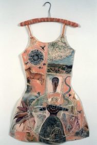 "Mj Viano Crowe, ""Sarah Wakefield's Critique"", Drawing, painting, collage on paper, Dress Forms are life size, approximately 2' w x 3'.5""h, some on hand-made hangers, 2000"