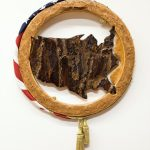 """Titi de Baccarat, Thanks America"""", bark, flag and dust of wood, 2016, photo by Kyle Dubay"""