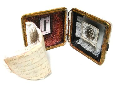 "Sherrill Hunnibell, ""Etui – A Feather for Charles"", mixed media with travel clock case, size varies, 2016"