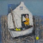"""""""Girl With A Boat"""", oil on board, 12X16 inches"""